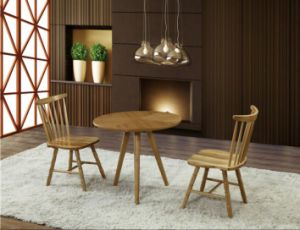 4 Seat Solid Wood Round Top Design Cafe Table pictures & photos