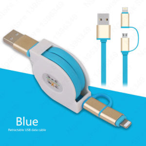 1m New 2 in 1 Retractable Data USB Cable pictures & photos