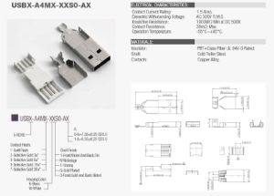 USB 2.0 a Solder Type Connector Conn Plug USB a 4POS pictures & photos