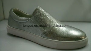 Lady Cowhide Leisure Comfortable Flat White Shoe pictures & photos