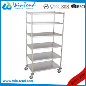 Manufactory Big 6 Tiers Round Tube Designs Kitchen Storage Shelves Trolley with Good Price pictures & photos