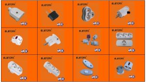 2 Pin Plug Adaptor to Socket with Light for Egypt (P7030) pictures & photos