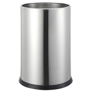 Hotel Single Wall Stainless Steel Waste Bin with PU Leather pictures & photos