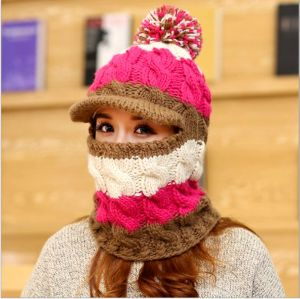 Custom Hand Knit Windproof Hulled Hat Hooded Winter Cap Neckwarmer pictures & photos