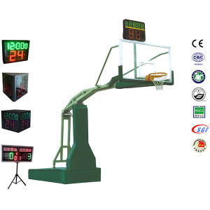 Adjustable Height Electric Hydraulic Certified Safety Tempered Glass Basketball Hoop pictures & photos