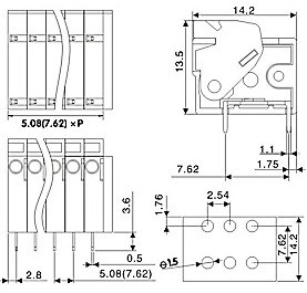 Spring Teminal Block with Dual Pin Header for 5.08mm or 7.62mm Pin Spacing pictures & photos
