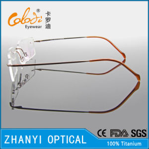 No MOQ Simple Titanium Eyewear Eyeglass Glasses Optical Frame with Duo Color (5532) pictures & photos
