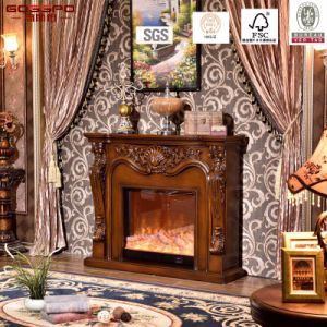 Luxury Carved Solid Wooden Electric Fireplace Mantel (GSP15-001) pictures & photos