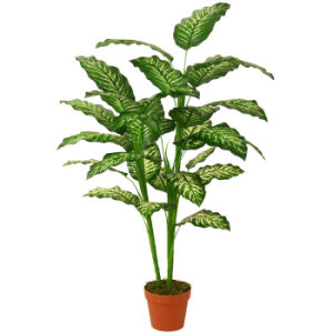 "Evergreen Artificial Plants of 125cm Dieffenbachia with 7""Plastic Pot, 27 Lvs"