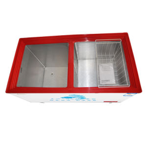 Double Temperature Top Open Double Door Chest Freezer Universal Casters pictures & photos