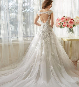 Tall Slim Lace Applique Tulle Keyhole Back Wedding Bridal Dress for North America Market pictures & photos