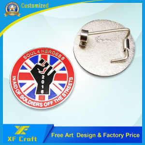 Professional Custom Metal Zinc Alloy Letter Shape Plated Gold Badge with Lower Price (XF-BG25) pictures & photos