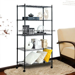 Adjustable DIY Assembly 5 Tiers Powder Coated Black Metal Storage Wire Shelf Shelving Rack with Wheels pictures & photos