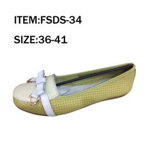 Hot Selling Flat Yellow Lady Leather Shoes pictures & photos