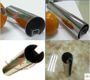 Handrail Glass System with Round Single Slotted Tube pictures & photos