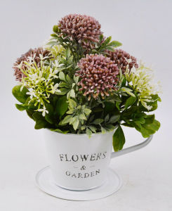 Artificial Flocking Wildflowers in Tin Pot with Salver for Decoration pictures & photos