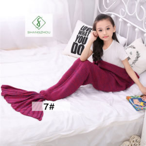 90cm*50cm Crochet Mermaid Tail Blanket Soft Sleeping Bag Knitted Blanket pictures & photos