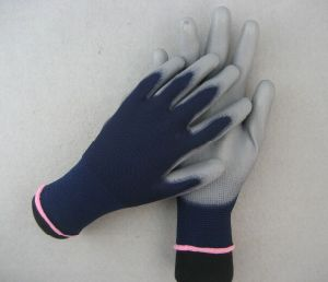 13G Polyester Liner Double Blue PU Work Glove pictures & photos