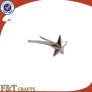Cheap Silver Star Shape Metal Badge Pin (FTBD9012J) pictures & photos