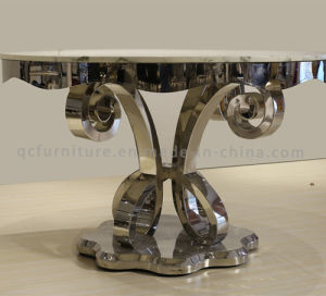 Luxury Beautiful Rond Stainless Steel Dining Room Marble Table pictures & photos