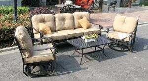 Hot Patio Rockport 4PC Swivel Glider Chat Group Furniture pictures & photos