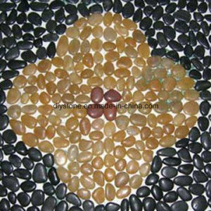 Black and Yellow Mosaic Pebble Stone Tile Polished pictures & photos