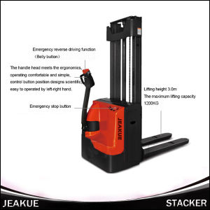 Hot Prodcut Walking Electric Stacker (Two stage mast) pictures & photos