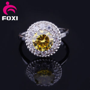 Brass Flower Design Five Color Women CZ Gold Jewelry Rings for Cloth Accessories pictures & photos