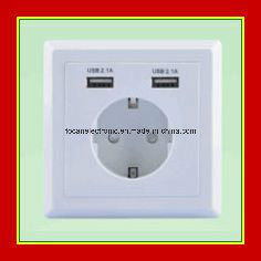 European Wall Power Socket with 5V2.1A USB Charging pictures & photos