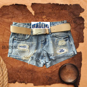 New Fashion Design Ladies Denim Jean with Dustord Embroider (HDLJ0002) pictures & photos