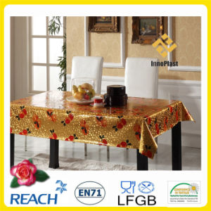Vinyl Plastic Table Cover with Golden Overlay pictures & photos