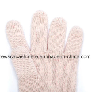 Women′s Fresh Style Pure Cashmere Gloves with Pink Color pictures & photos