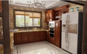 American Style Solid Wood Walnut Kitchen Cabinet (w4) pictures & photos