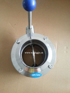 Beer Industry Stainless Steel Sanitary Three Pieces Butterfly Valves Butt Welded Ends pictures & photos