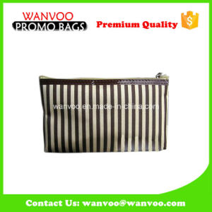 Brown Small Canvas Stripe Cosmetic Bag for Toiletry pictures & photos