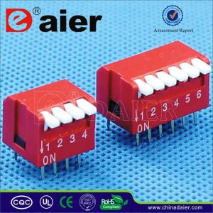 Red Color Piano Type DIP Switch with 2~12 Positions pictures & photos