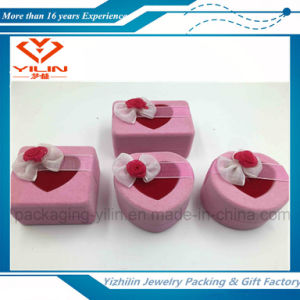 Heart Shaped Pink Color Flocked Velvet Jewelry Box with Bow