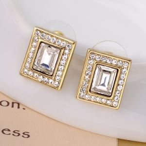 Unique Design Square Shaped 18K Gold Crystal Fashion Jewelry Set pictures & photos