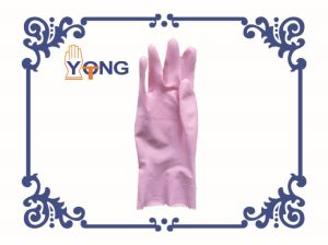 Flock Lined Latex Household Gloves/Rubber Kitchen Cleaning Gloves
