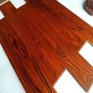Prefinished Red Color Stain Engineered Elm Wood Flooring pictures & photos