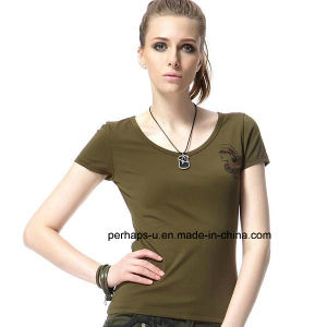 Ladies Army Green Sexy T-Shirt pictures & photos