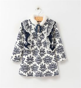2015 Autumn and Winter Korean Long Blue and White Porcelain Cotton Jacket/ Hot Explosion Model Jacket Kd1625 pictures & photos