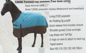 Horse Gear 12000 Turnout Rug Summer, Two Tone Color pictures & photos