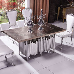 Silver Dining Table with MDF Top Restaurant Table PU Top pictures & photos