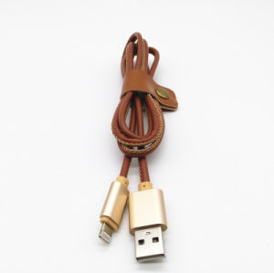 High Quality PU Leather USB Data Cable for iPhone6