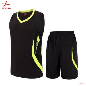 Healong Black Team Cheap Custom Basketball Jerseys Design Basketball Uniforms pictures & photos