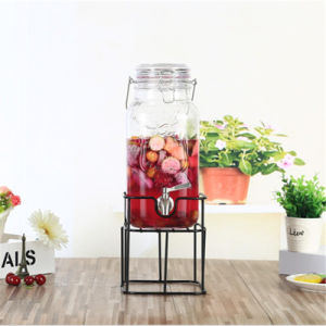 Food Grade 3.5L Glass Juice Beverage Glass Dispenser with Handle pictures & photos