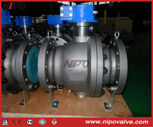 Cast Steel Flanged Trunnion Ball Valve with Worm Box pictures & photos