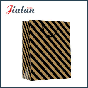 Black Stripe Custom Logo Made Wholesales Printed Kraft Paper Bag pictures & photos