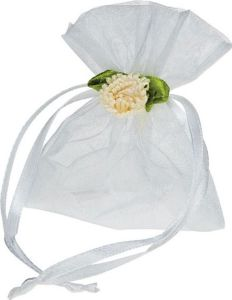 Pretty Wedding White Organza Bags with Handmade Flower pictures & photos